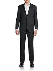 Saks Fifth Avenue Black Classic Fit Wool Pinstripe Suit Charcoal