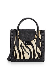 Loeffler Randall Junior Work Zebra Print Calf Hair And Leather Tote Zebra Black