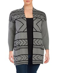 Context Plus Geometric Cotton Blend Cardigan Light Heathered Grey