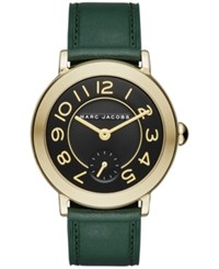 Marc Jacobs Women's Riley Dark Green Leather Strap Watch 36Mm Mj1469 Emerald