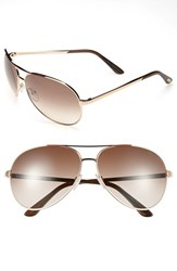 Men's Tom Ford 'Charles' 62Mm Aviator Sunglasses Shiny Rose Gold Brown
