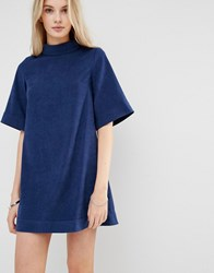 Love And Other Things 3 4 Sleeve Faux Suede High Neck Shift Dress Blue