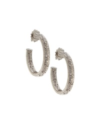 Judith Ripka Estate Sterling Silver And Sapphire Hoop Earrings Blue