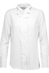 Brunello Cucinelli Beaded Bow Embellished Cotton Twill Shirt White