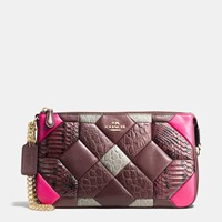 Coach Canyon Quilt Nolita Wristlet 24 In Exotic Embossed Leather Light Gold Oxblood Multi