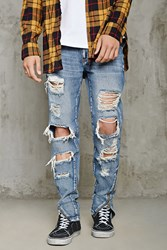 Forever 21 Distressed Slim Fit Jeans Medium Denim