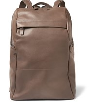 Alvaro Agape Grained Leather Backpack Brown