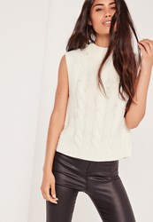 Missguided High Neck Cable Sleeveless Jumper Cream Ivory