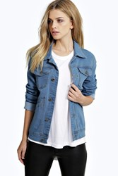Boohoo Utility Pocket Boyfriend Denim Jacket Mid Blue