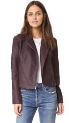 Cupcakes And Cashmere Joslyn Washed Vegan Leather Moto Jacket Oxblood