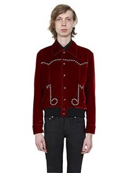 Saint Laurent Music Notes Crystals Velvet Teddy Jacket
