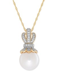Honora Style Freshwater Pearl 10Mm And Diamond 1 8 Ct. T.W. Pendant Necklace In 14K Gold White