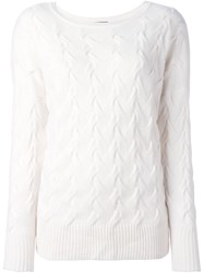 N.Peal Oversize Cable Sweater White
