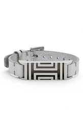 Tory Burch For Fitbit Metallic Leather Bracelet Silver
