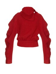 A.W.A.K.E. Preppy High Collar Wool Blend Sweater Red