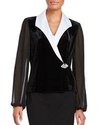 Alex Evenings Velvet Contrast Jacket Black White