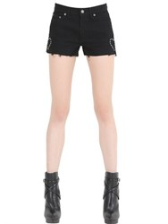 Saint Laurent Studded Stretch Cotton Denim Shorts