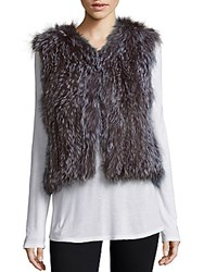 Saks Fifth Avenue Fox Fur Sleeveless Vest Black