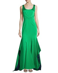 Zac Posen Katherine Sleeveless Mermaid Gown Petrol Lime Petrol Green