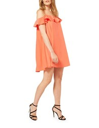 Miss Selfridge Cold Shoulder Frill Shift Dress Orange