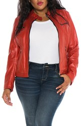 Slink Jeans Plus Size Women's Fitted Leather Moto Jacket Red