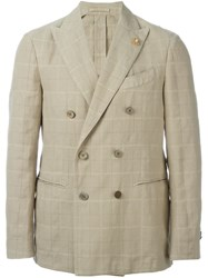 Lardini Double Breasted Blazer Nude And Neutrals