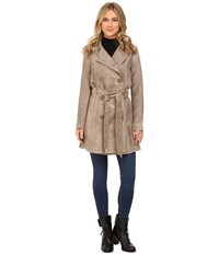 Bb Dakota Edsel Faux Suede Trench Coat Stone Brown Women's Coat