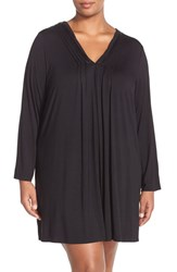 Plus Size Women's Midnight By Carole Hochman 'Tulum' Pintuck Nightgown Black
