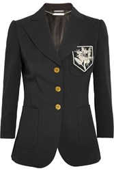 Alexander Mcqueen Appliqued Wool And Silk Blend Twill Blazer Black