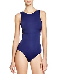 Dkny Street Cast Solids High Neck Cut Out Maillot One Piece Swimsuit Currant
