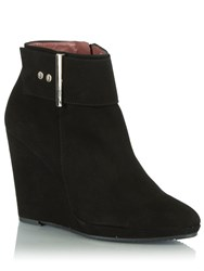 Daniel Jumpy Buckle Wedge Ankle Boots Black