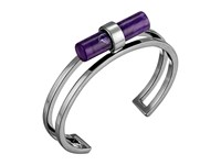 French Connection Tube Cuff Bracelet Hematite Purple Bracelet Metallic