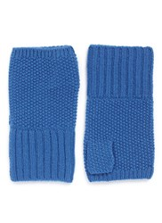 Ish Cashmere Knit Fingerless Gloves Blue