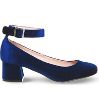 Office Flashback Velvet Mary Jane Block Heels Navy Velvet