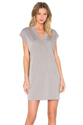 Atm Anthony Thomas Melillo Extended Shoulder V Neck Dress Gray