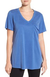 Bobeau Women's Short Sleeve Pocket Tee Blue