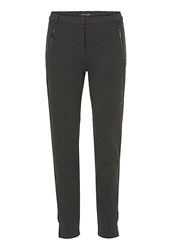 Betty Barclay Stretch Trousers With Pleather Trim Charcoal