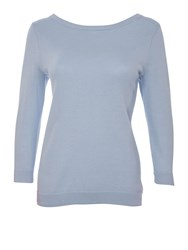 Lands' End Women S Fine Gauge Supima Crew Neck Blue