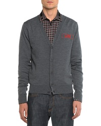 Givenchy Love Embroidered Cardigan Dark Gray