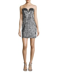 Milly Carly Sweetheart Sequin Cocktail Dress Silver