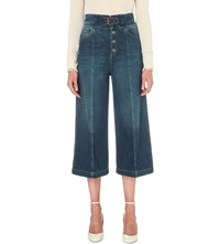 Red Valentino Cropped High Rise Denim Culottes Light Blue Denim