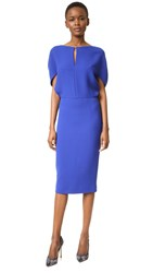 Lela Rose Cape Sleeve Fitted Dress Lapis