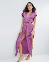 Asos Lace Wrap Satin And Lace Maxi Robe Violet Purple