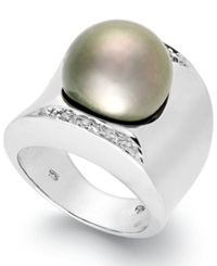 Macy's Tahitian Pearl 13Mm And Diamond 1 8 Ct. T.W. Ring In Sterling Silver