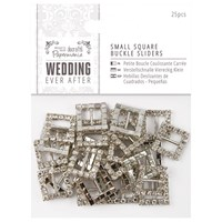 Docrafts Wedding Ever After Small Square Buckle Sliders Silver Pack Of 25