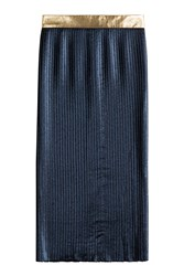 Markus Lupfer Pleated Lame Skirt Blue