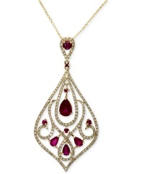 Effy Collection Gemma By Effy Ruby 2 1 8 Ct. T.W. And Diamond 3 4 Ct. T.W. Drop Pendant In 14K Gold
