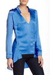 L.A.M.B. Hammered Silk Blouse Blue