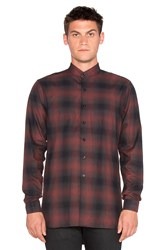 Naked And Famous Long Shirt Shadow Check Burgundy