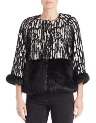 French Connection Faux Fur Trimmed Jacquard Jacket Black